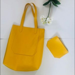 Saks Fifth Avenue Yellow Tote With Mini Purse